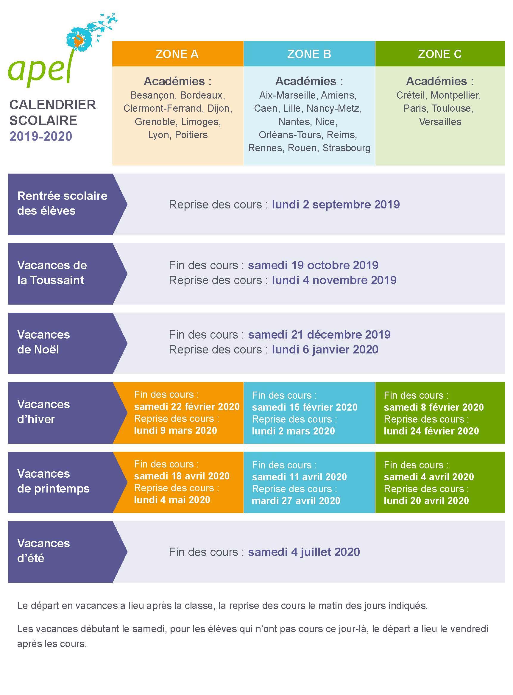 Calendrier Scolaire 2020 2019.Calendrier Vacances 2019 2020 Vacances Scolaires Academie