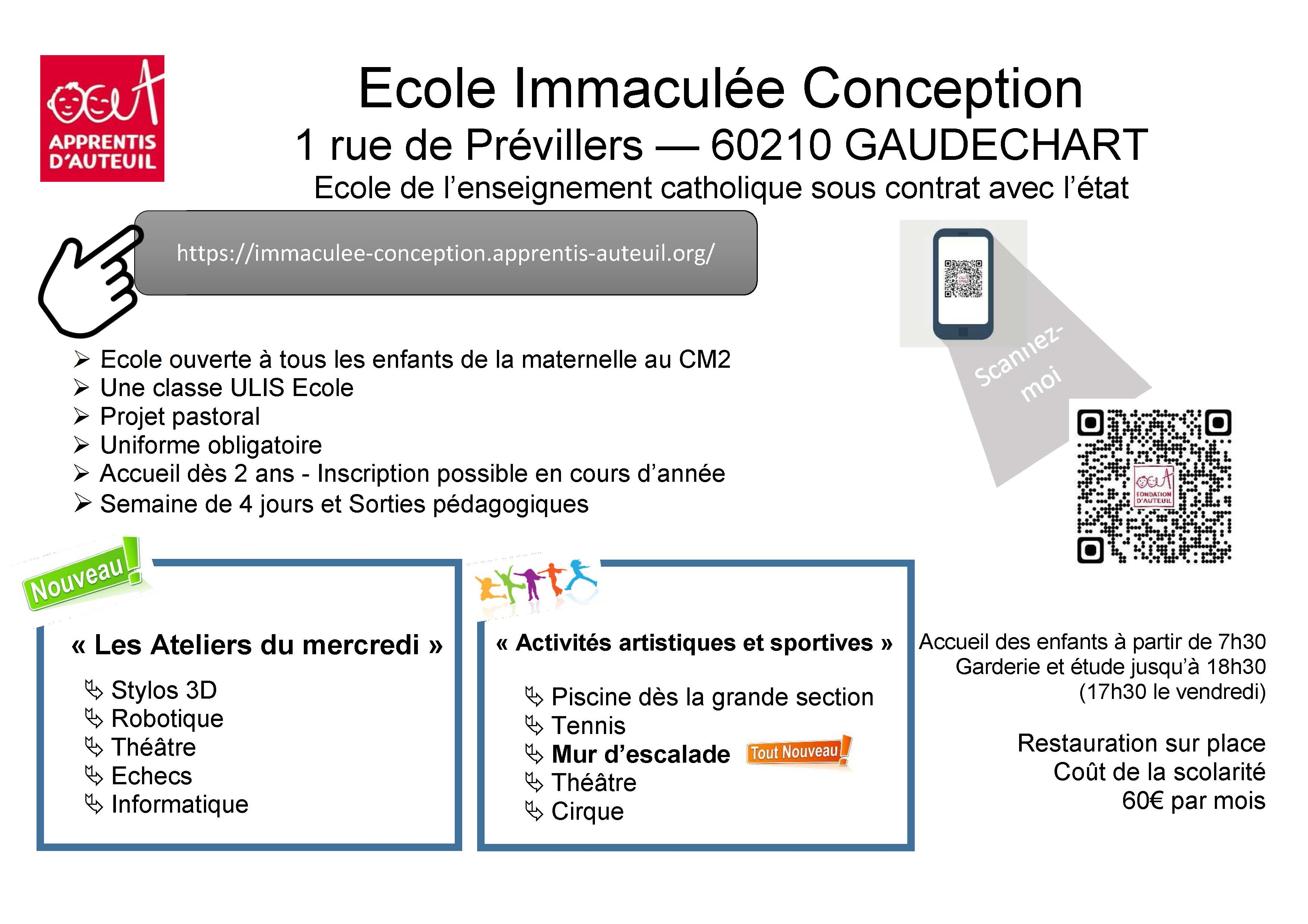 verso flyer Ecole Immaculée Conception